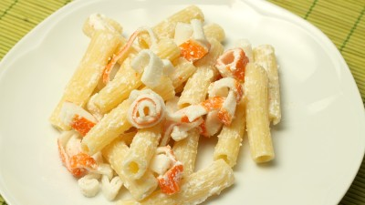 Pasta salad with crab sticks