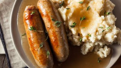 Sausage & spring mash pie