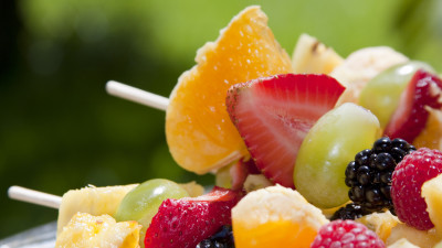Fruit and date-bread kebabs