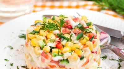 Cucumber salad with crab sticks