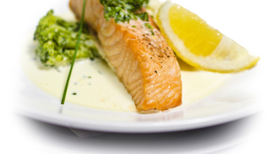 Salmon with a herb gravy