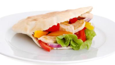 Greek Slaw and Chicken Pitas