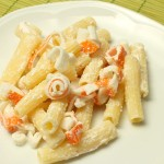 Pasta with surimi and ricotta cheese