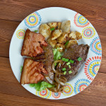 Calf liver and bacon - dish containing Grilled  calf liver and bacon.favorite food United States