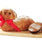 Easter sponge cake in shape of lamb and gingerbread eggs