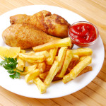 Oven Baked Chicken Legs with chips