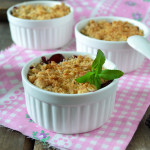Pear and blackberry crumbles