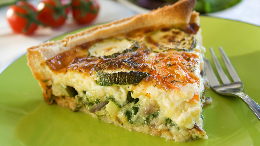 Curry quiche with leek