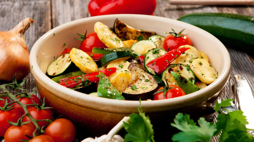 Roasted autumn vegetables with Lancashire cheese