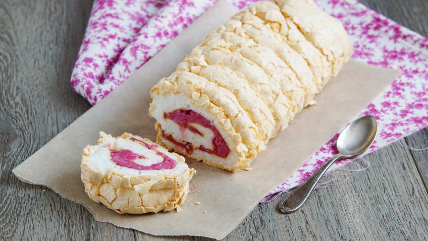 Raspberry and Cherry Pavlova Roll