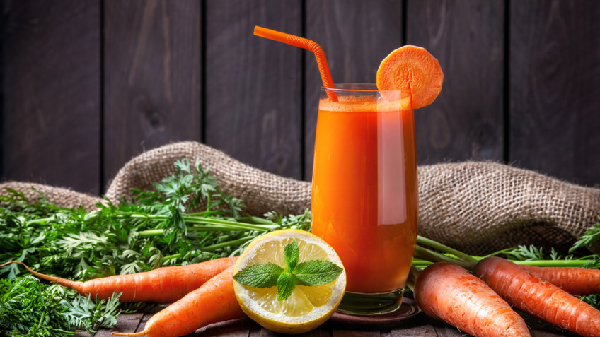 Carrot juice with citrus fruity