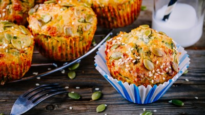 Savory Pumpkin, Spinach, and Feta Muffins