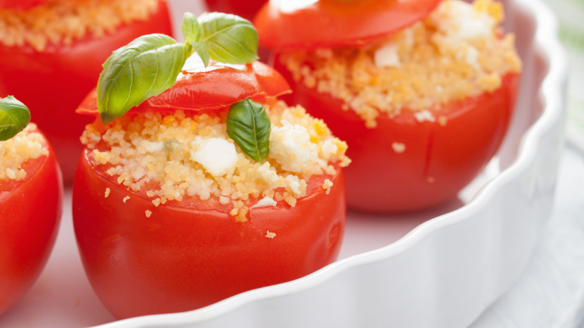 Tomatoes filled with couscous
